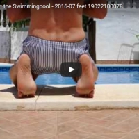Walking Bare Foot at the Swimmingpool